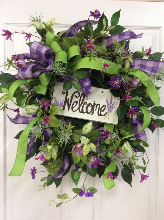purple door wreath summer wreath with purple spring summer