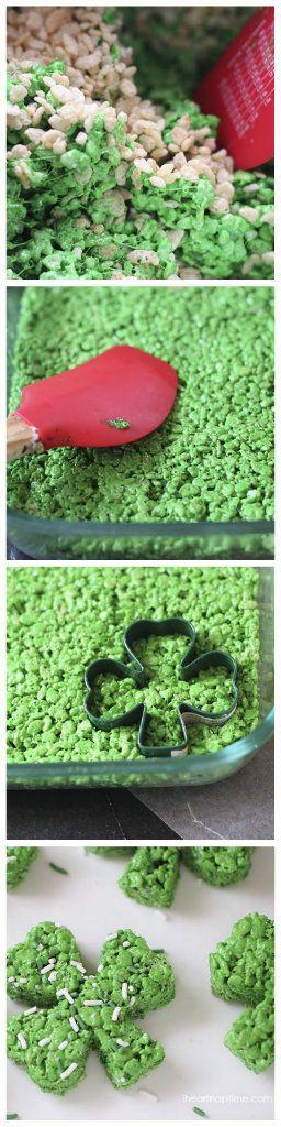 Easy Rice Krispies Clover Treats by @Jalyn {iheartnaptime.net} #StPatricksDay