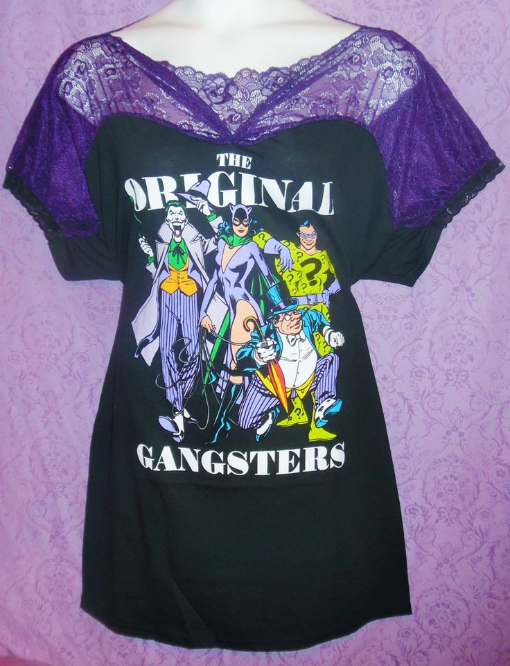 KatsCoutureChaos 1x 2x 3x 4x Batman Joker Riddler Catwoman Penguin DC Comics cosplay goth DIY lace rockabilly t-shirt plus size babydoll top by KatsCoutureChaos on Etsy