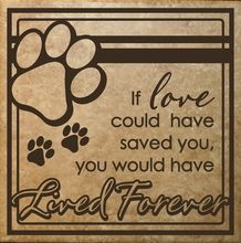 In Loving Memory of a favorite dog, cat or pet.  Wall Decal Sticker that fits on a square tile and can be displayed outdoor also.