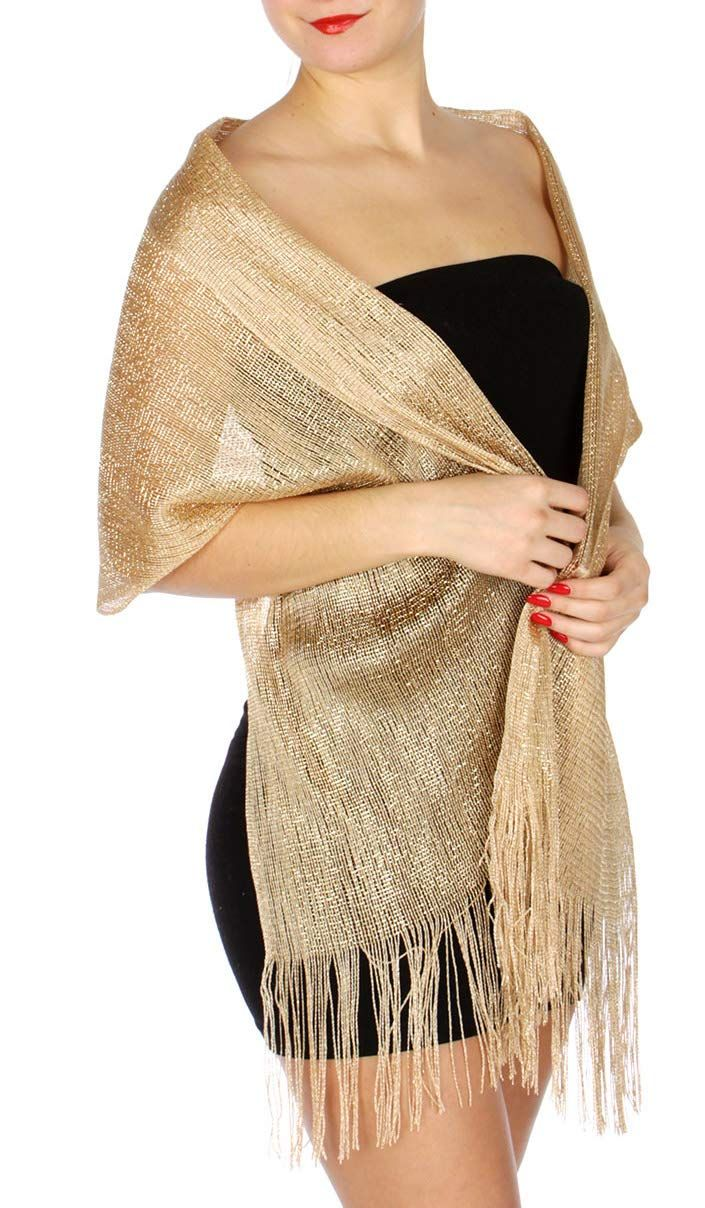 Evening Shawls And Wraps for Dresses, Lightweight Metallic Fishnet