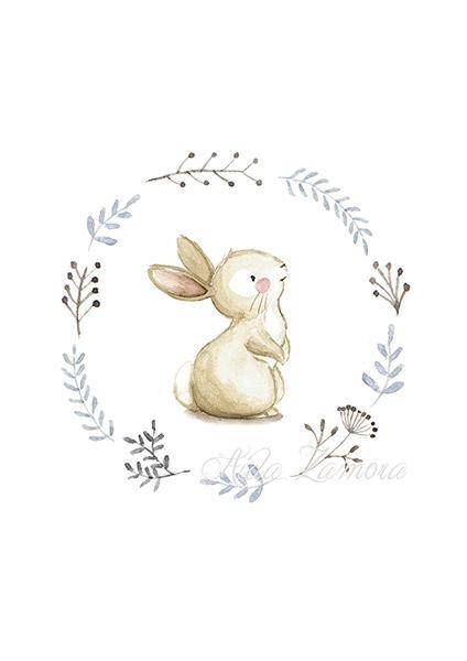 "NURSERY Art ""BUNNY"" Art Print, Nursery Illustration, Bunny nursery art, Bunnies wall art, Nursery wall art, Whimsical art, Bunny print"