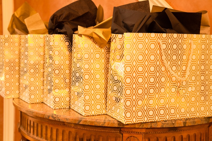 Favor bag in a #black and #gold New Years Eve party #newyearseve