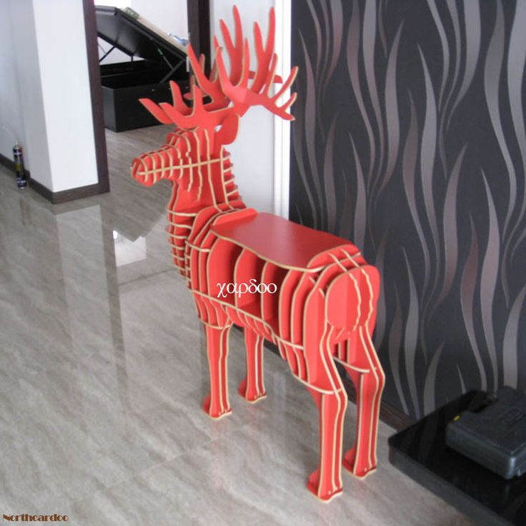 Deer Puzzle Table for living room,DIY assembled animal furniture,red deer table for home decor,Animal Multi-Purpose Furniture