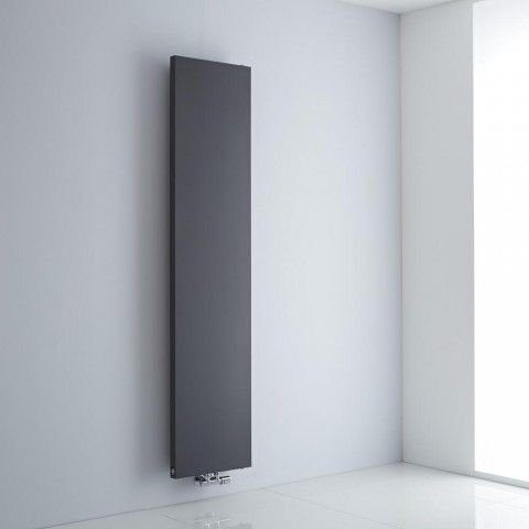 Milano Riso Anthracite Grey Flat Panel Central Inlet Vertical Designer Radiator 1800mm x 400mm