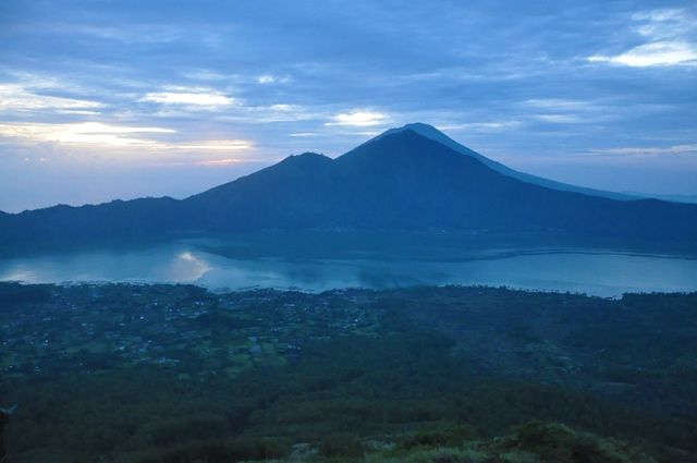 View from Mount Batur at Mount Agung, Bali