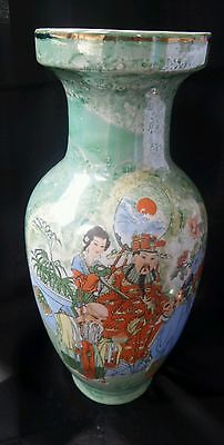 """Exquisite Chinese Vintage Green lustre Porcelain Large 12""""  Emperor vase"""