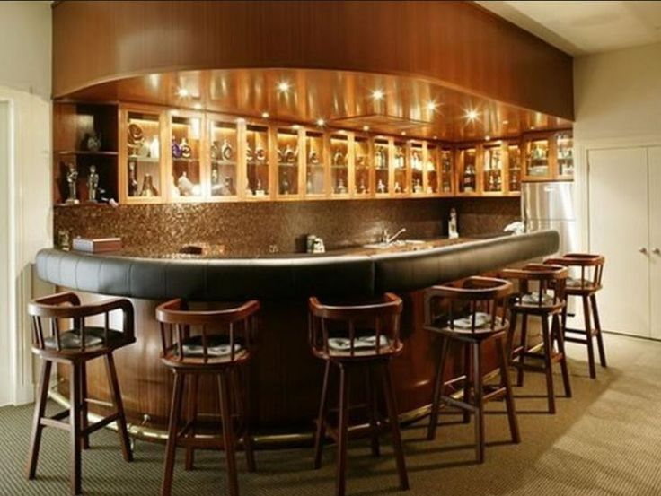 Basement bar idea rounded at the end basement ideas for Home bar designs and ideas
