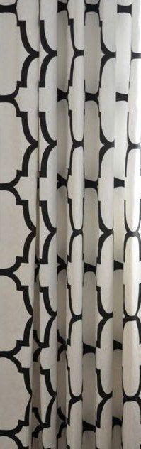Kravet Riad Jet Curtain Panels Black White Curtains Geometric Curtains  Trellis Curtains Quatrefoil Curtains ONE PAIR