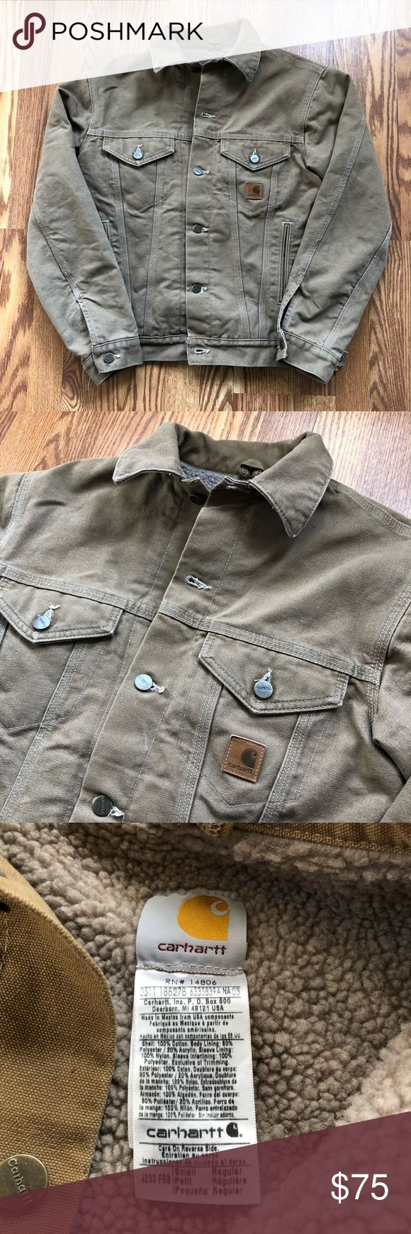 Vtg Carhartt Sherpa Canvas jacket Vintage Carhartt canvas cold weather jacket. Has classic Sherpa Lining. Beautiful leather patch on the front. Very clean, no notable imperfections.     Condition: 9/10 Color: Tan Size: Small  I ship out fast with tracking!  Measurements upon request. Subject to tiny imperfections. Carhartt Jackets & Coats Bomber & Varsity