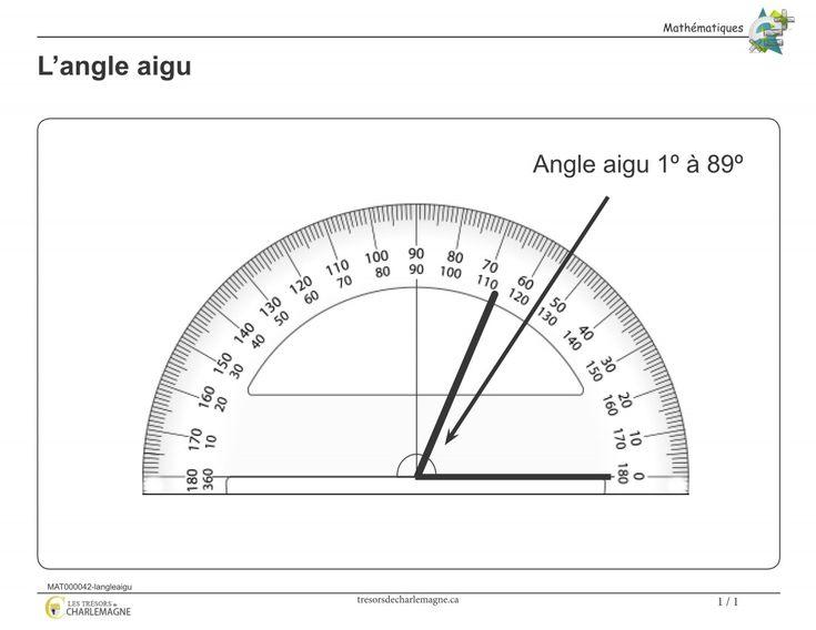Affiche-L'angle aigu - Les trésors de Charlemagne   Ce document vous servira de référence pour la notion de l'angle aigu. Vous pouvez l'afficher en classe ou l'inclure dans vos cahiers de notions.  #Affiches #Mathématiques #Angle #mesure
