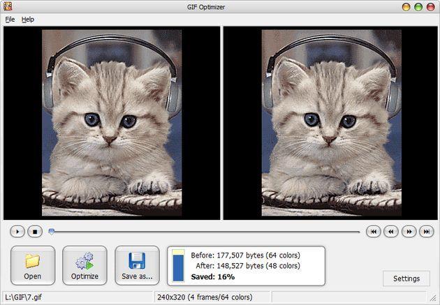 GIF Optimizer, software gratis para comprimir imágenes animadas en formato GIF