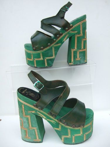 1970's green leather platform shoes