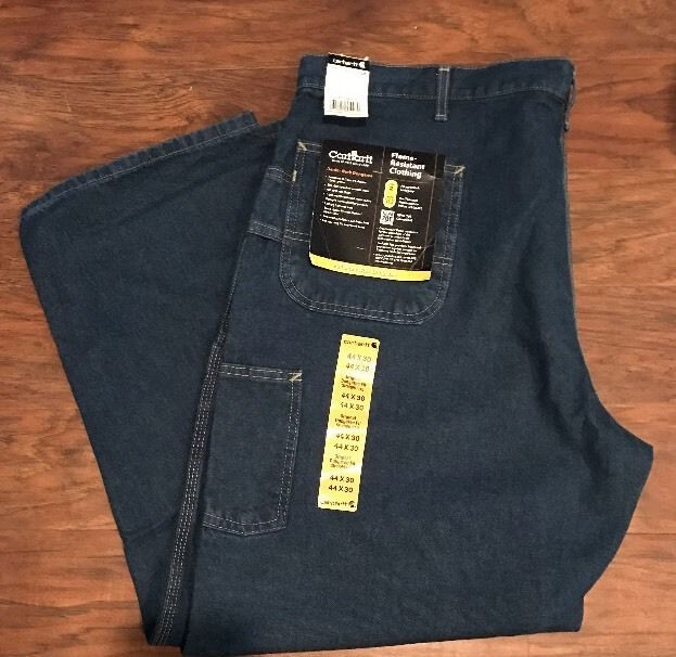 Men's Jeans CARHARTT Flame Resistant Blue Denim Carpenter Work Jeans 44x30 New #Carhartt #Carpenter