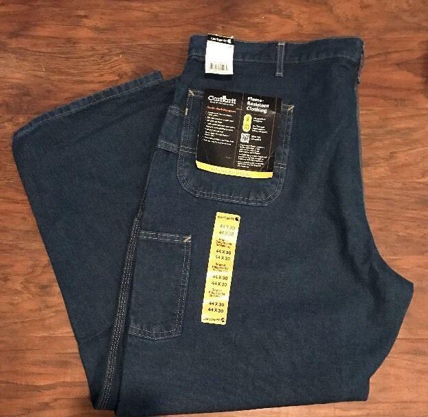 Mens CARHARTT Flame Resistant Blue Denim Carpenter Work Jeans 44x30 New  | eBay