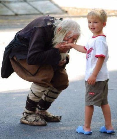 """Taking the podvig of the holy fool--This man's name is Dobre. A Bulgarian man living in abject poverty. He has donated over 20keurosto the Bulgarian Orthodox Church. Everyday, he stands in the church & begs, but not for himself. All money given to him, he donates to the church. He is the biggest individual donor to the church in the past few decades. He walks several kilometers to and from the church each day. He is known as """"The Righteous from Bajlo"""