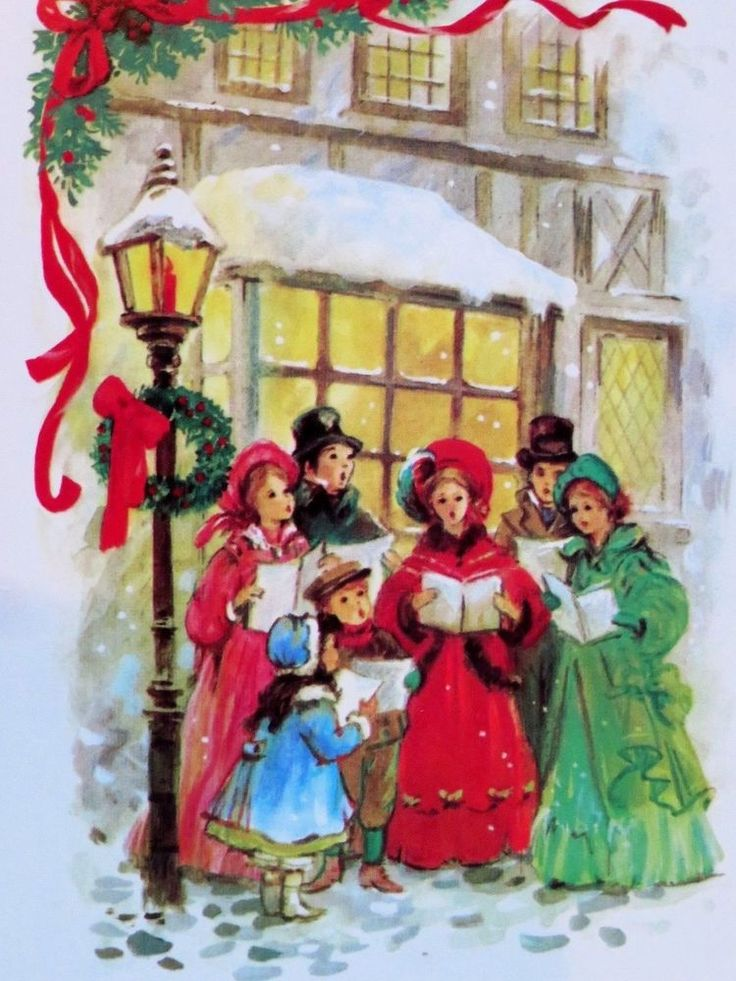 Vintage Christmas Card UNUSED People Family Caroling Pretty Girls In Dress