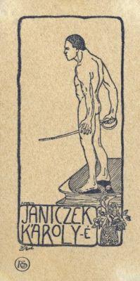 Bookplate by Tibor Bottik for  Janiczek Károly, 1910c.