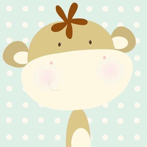 Mini monkey - 40x40 cm, www.facebook.com/Artgallery.mexico Kids Home Decoration / kids room / kids art