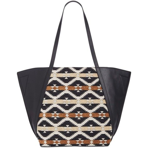 Danielle Nicole Tajo Tote ($88) ❤ liked on Polyvore featuring bags, handbags, tote bags, aztec print, aztec purse, aztec tote, white purse, vegan handbags and aztec print purse
