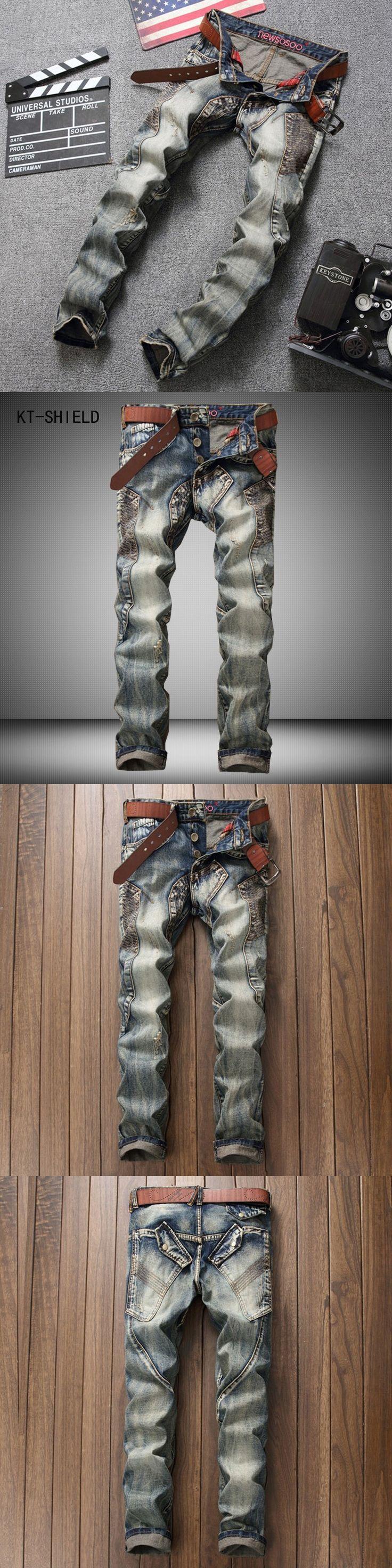 Mens patchwork spliced ripped denim jeans men Vintage Acid Washed Faded Multi-Pockets jeans Military Style Biker Jeans For Men