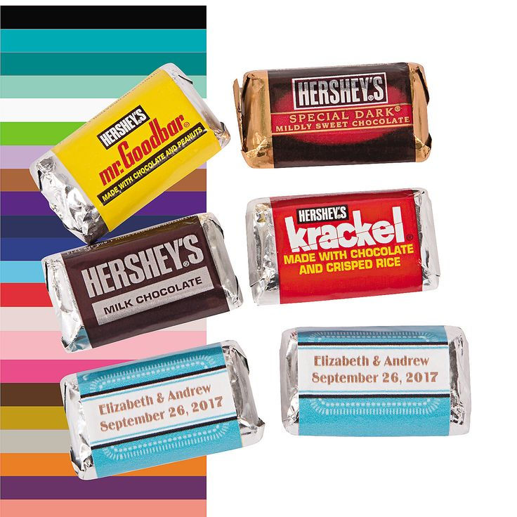 "Personalized+Wedding+Mini+Candy+Bar+Stickers+-  $5.99 Personalize the sticker with 2 lines of 18 characters/spaces per line. Paper. (30 pcs. per unit) 1 1/2"" x 2 1/2"" Candy not included. © OTC+OrientalTrading.com"