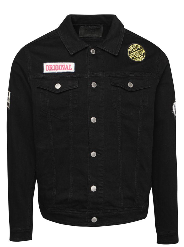 Černá denimová bunda s nášivkami Jack & Jones Jean