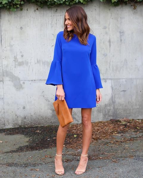Royal blue dress 3 4 sleeve ivory top