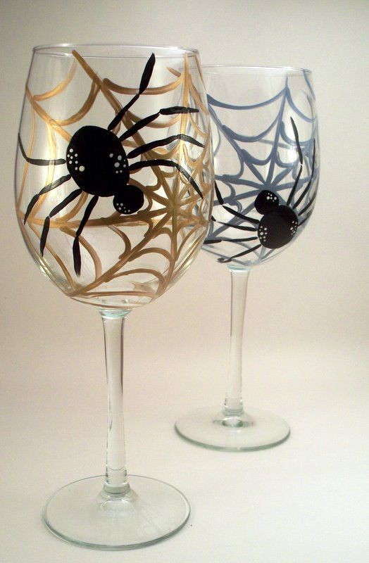 Black+spider+spiderweb+Halloween+painted+wine+glasses++by+RaeSmith