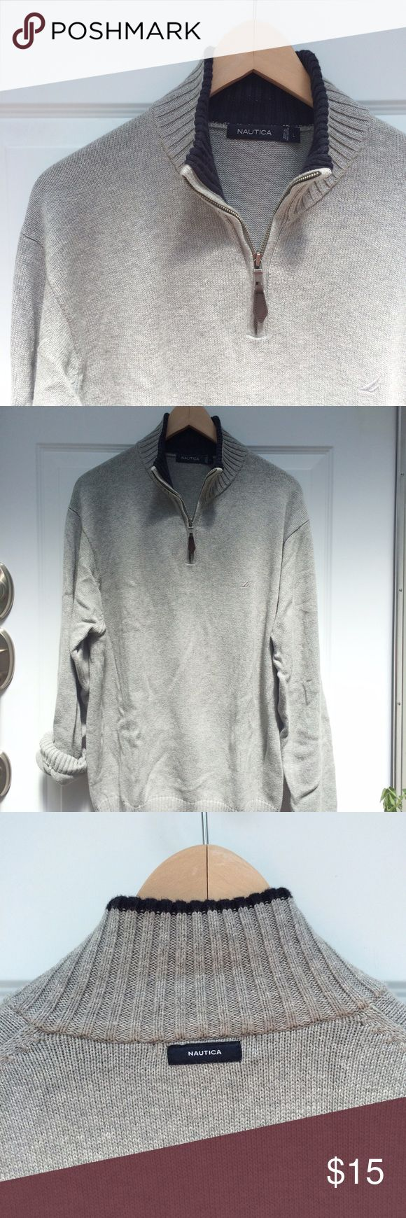 Nautica men's half zip sweater Light heathered grey men's half zip sweater by Nautica. Collar is navy blue. 100% cotton. Overall excellent used condition however some stains on the sleeve.  See pic. Price reflects condition. Nautica Sweaters