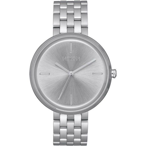 Nixon Women's Vix Bracelet Watch 34mm ($200) ❤ liked on Polyvore featuring jewelry, watches, silver, watch bracelet, stainless steel jewelry, stainless steel watch bracelet, stainless steel watches and nixon jewelry