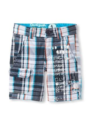 68% OFF Desigual Kid's Plaid Shorts (Blue)