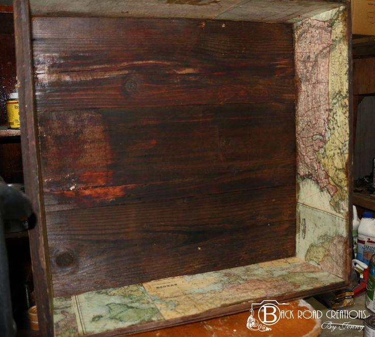 Barn wood Shadow box Shelf. Decoupaged map inlay.  DYI Home Decor https://www.facebook.com/backroadcreationsbyjenny?ref=aymt_homepage_panel