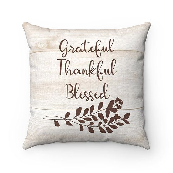 Monogram Throw Pillow with Sayings Grateful Thankful Blessed