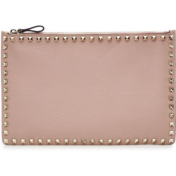 Valentino Rockstud Leather Clutch ($430) ❤ liked on Polyvore featuring bags, handbags, clutches, rose, studded handbags, brown studded handbag, valentino purses, brown leather handbags and leather clutches