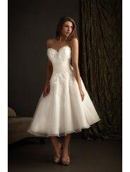 Organza Sweetheart Fitted Bodice tea-Length Beach Wedding Dress