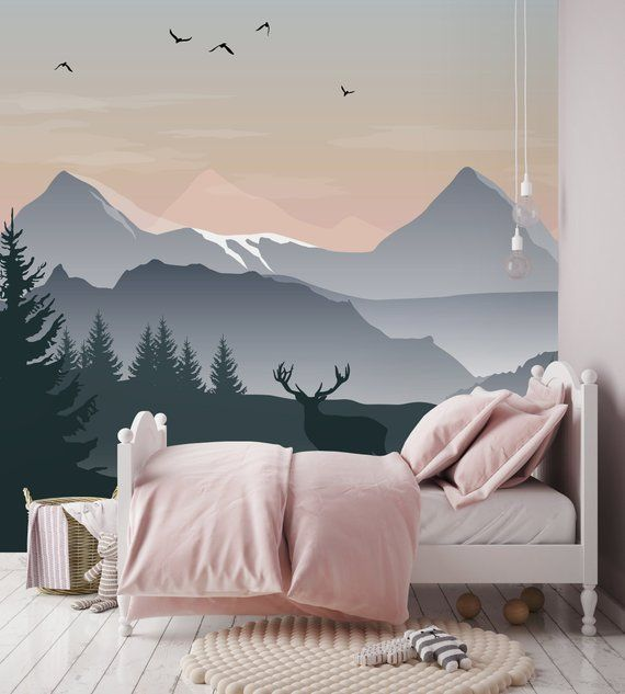 Removable Wallpaper Self Adhesive Wallpaper Ombre Mountains With Deer Peel Stick Wallpaper Nursery Wallpaper Nursery Wallpaper Bedroom Murals Mural Wallpaper