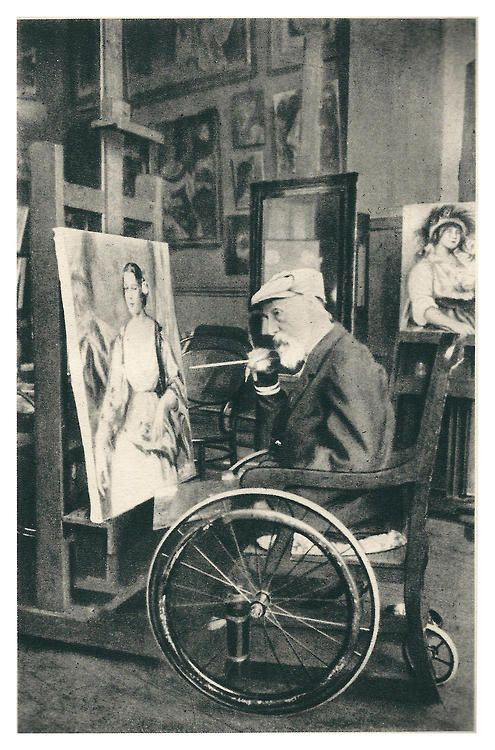 1914. Pierre-Auguste Renoir - severely suffering from rheumatoid arthritis - in his studio, age 73.