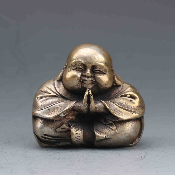 Quaint and Welcoming Chinese Silver-Plated Brass Hand-carved Buddha Statue by BoutiqueKRM on Etsy