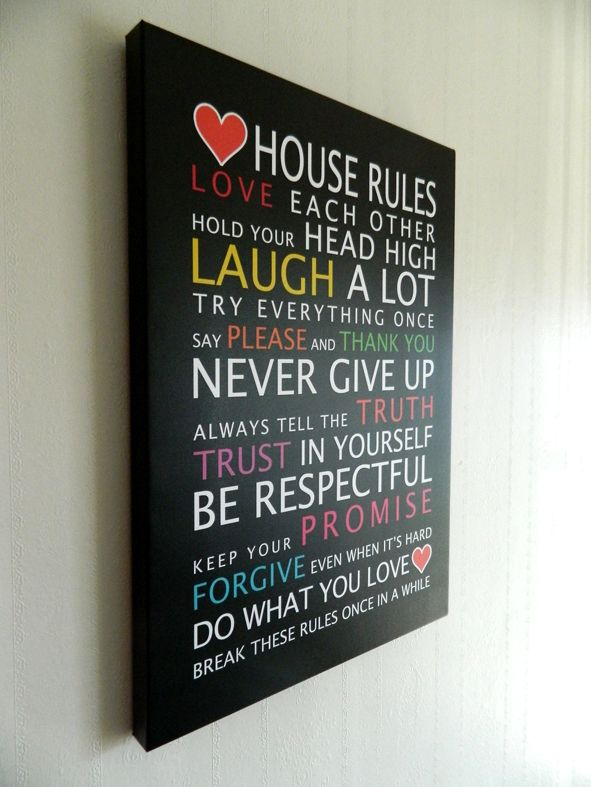 Coloured House Rules with Hearts on canvas! www.offthebusdesigns.com