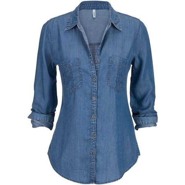 lightweight button down denim tunic shirt and other apparel, accessories and trends. Browse and shop related looks.