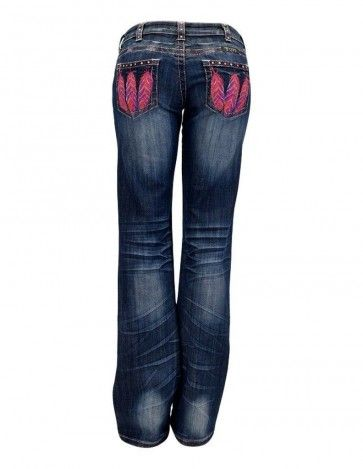 Cowgirl Tuff® Ladies' Fly Free Pink Feather Pocket Bootcut Jeans Style: C01-JFFRPK