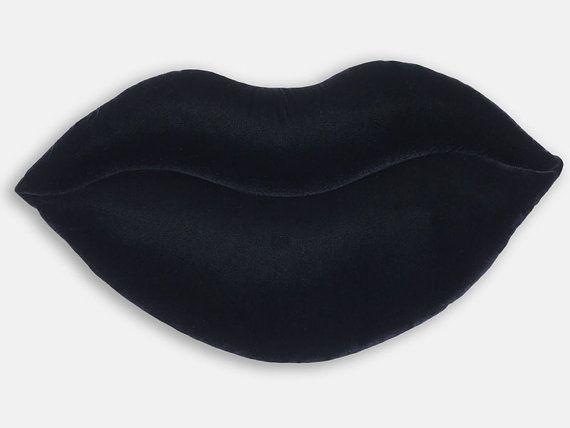 Black Shimmer Velvet Lips Shaped Decorative Pillow by SendASmooch