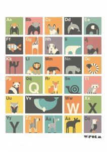 Affischer och Väggdekorationer / Poster ABC retro (House of Hedda)