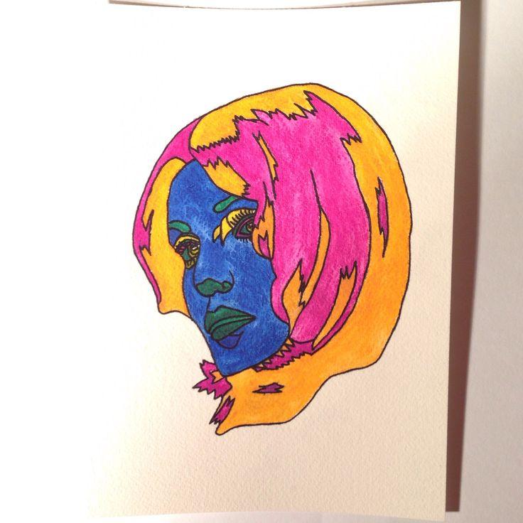 Girls of the 20th Century - Kristin. Watercolour on rag paper, 2014. Sara Ferrington. www.facebook.com/fershaw.art