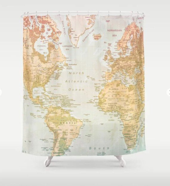 World Map Shower Curtain World Map Bathroom Accessories