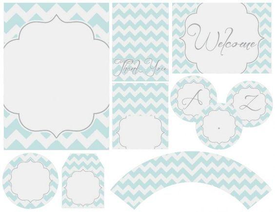 Zigzag en Celeste y Blanco: Mini Kit para Imprimir Gratis.