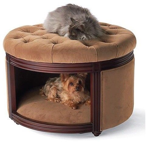 Pet ottoman den dog bed crafted of birch wood upholstered for Upholstered dog bed