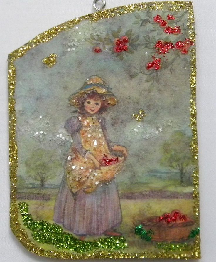 Girl Picking Apples Glittered Christmas Ornament Vintage Greeting Card