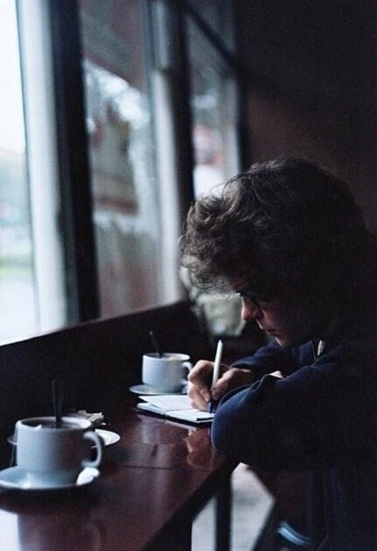Harry Styles.. This happens to look just like the a cafe I went to in Chicago..